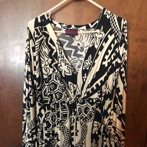 Black and Cream Patterned Wrap Front Long Sleeve